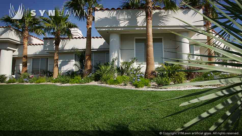Artificial grass landscape at Albuquerque home